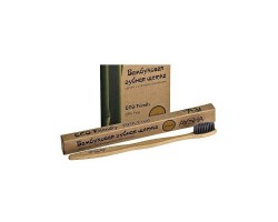 Бамбуковая зубная щетка, щетина с угольным напылением (средняя жесткость) Ааша, Aasha
