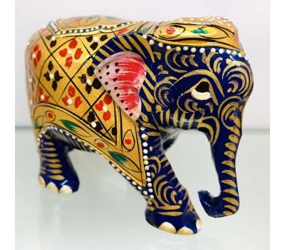 """Статуэтка """"Слоник синий с опущенным хоботом"""" из ценного дерева Тик, ручная роспись, Индия"""
