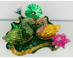 """Сувенир - Металлическая шкатулка со стразами """"Влюблённые Лебеди"""""""