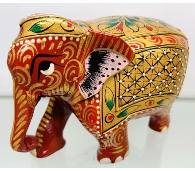 """Статуэтка """"Слоник красный с опущенным хоботом"""" из ценного дерева Тик, ручная роспись, Индия"""