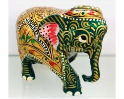 """Статуэтка """"Слоник зеленый с опущенным хоботом"""" из ценного дерева Тик, ручная роспись, Индия"""