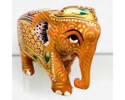 """Статуэтка """"Слоник золотистый с опущенным хоботом """" из ценного дерева Тик, ручная роспись, Индия"""