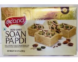 Индийская воздушная сладость с миндалем и фисташками Soan Papdi, Bikano, С топленным маслом  Гхи, Desi Ghee, 900г
