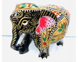 """Статуэтка """"Слоник черный с опущенным хоботом"""" из ценного дерева Тик, ручная роспись, Индия"""