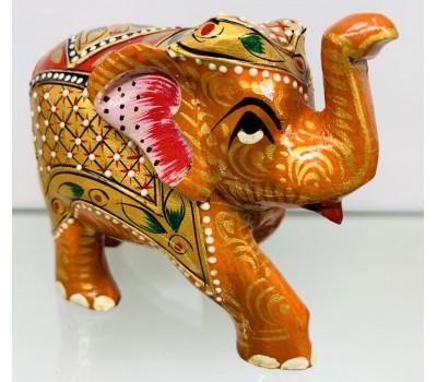 """Статуэтка """"Слоник золотистый"""" из ценного дерева Тик, ручная роспись, Индия"""