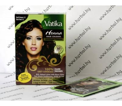 """Краска для волос с хной Vatika Henna Dark Brown """"Темный коричневый"""", 6*10 г"""
