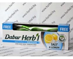 Зубная паста + зубная щетка. Соль и лимон, Dabur Herbl 150 г
