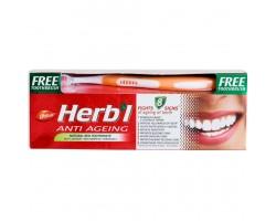 Зубная паста + зубная щетка.  Травяная, антивозрастная, Dabur Herbl 150 г