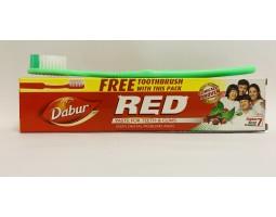 Зубная паста RED Рэд аюрведическая с зубной щеткой, Dabur Индия 100г