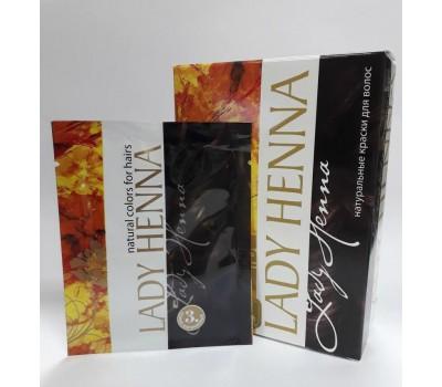 Краска для волос на основе хны Темно-коричневая, Lady Henna 1 пакетик 10г