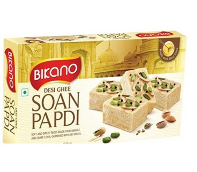 Soan Papdi, Bikano, С топленным маслом Гхи, Desi Ghee, 250г Индийская воздушная сладость с миндалем и фисташками