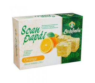 """Традиционная индийская воздушная сладость со вкусом """"Апельсина""""  Soan Papdi Orange, Bestofindia 250г"""