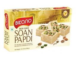 Soan Papdi, Bikano, С топленным маслом  Гхи, Desi Ghee, 500г Индийская воздушная сладость с миндалем и фисташками